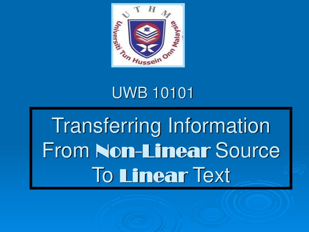 Transferring Information From Non-Linear Source To Linear Text