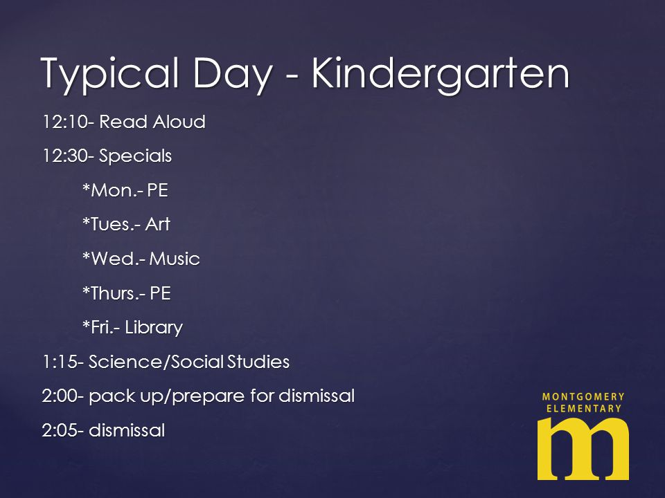 Typical Day - Kindergarten