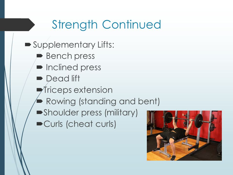 Strength Continued Supplementary Lifts: Bench press Inclined press