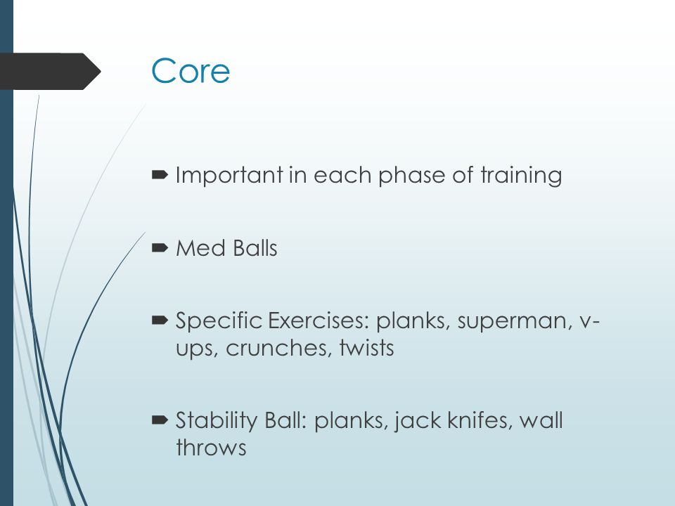 Core Important in each phase of training Med Balls