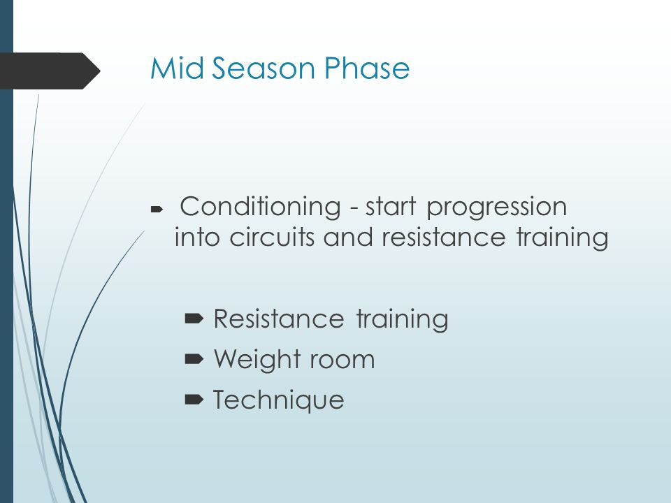 Mid Season Phase Resistance training Weight room Technique