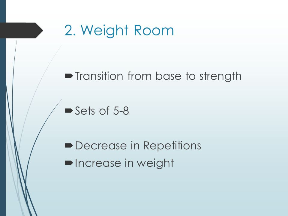 2. Weight Room Transition from base to strength Sets of 5-8