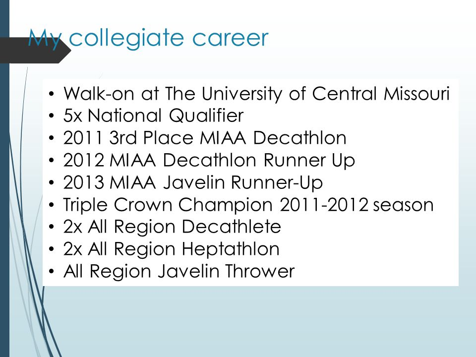 My collegiate career Walk-on at The University of Central Missouri