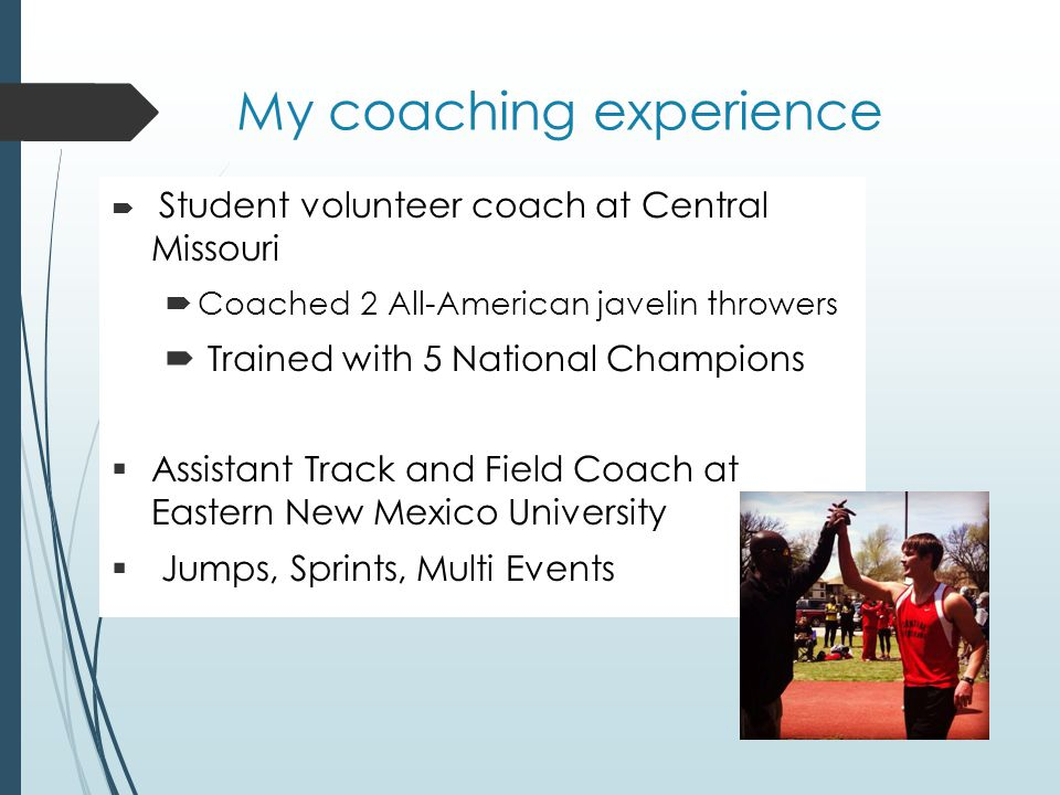 My coaching experience