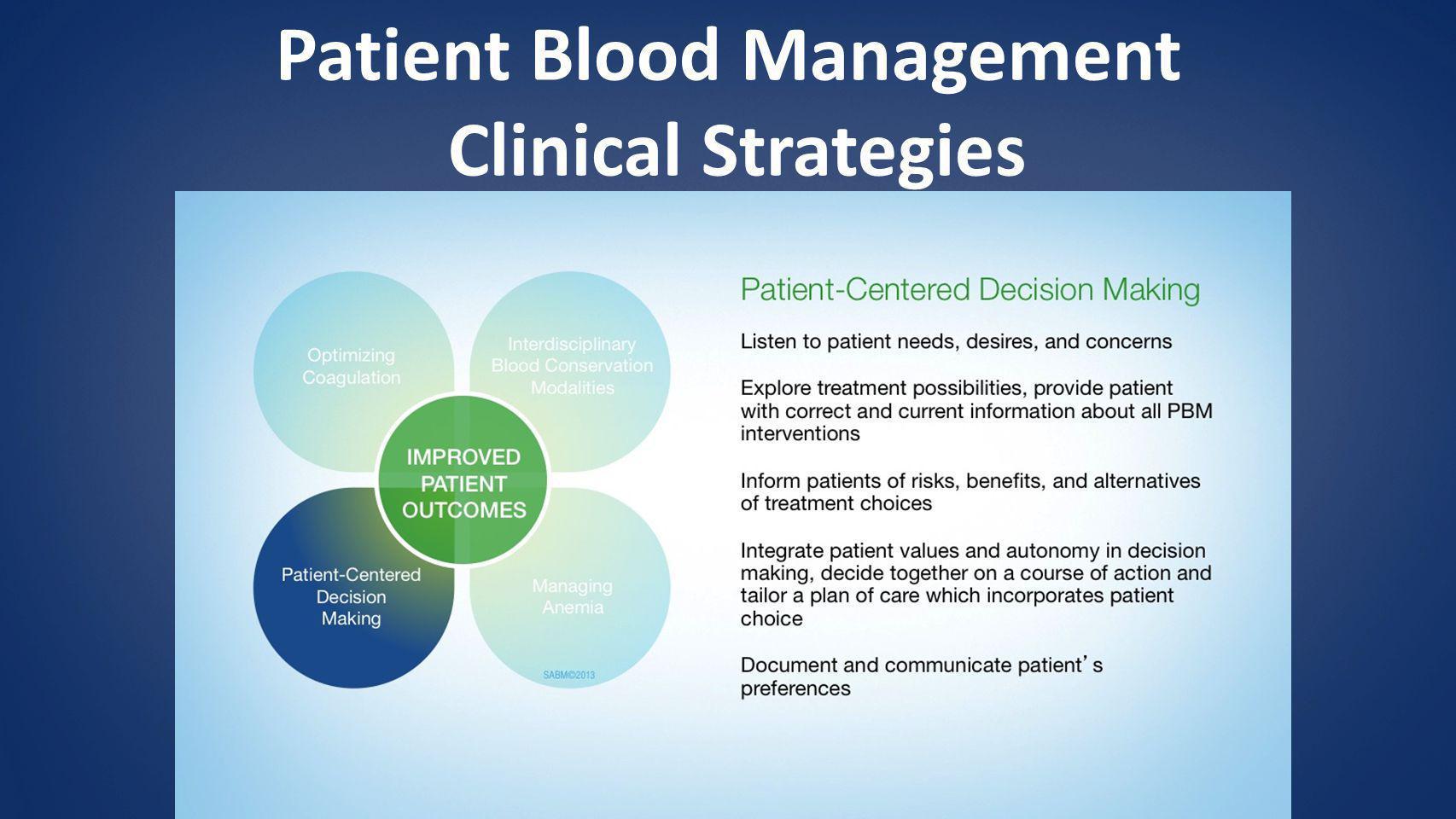 Patient Blood Management Clinical Strategies