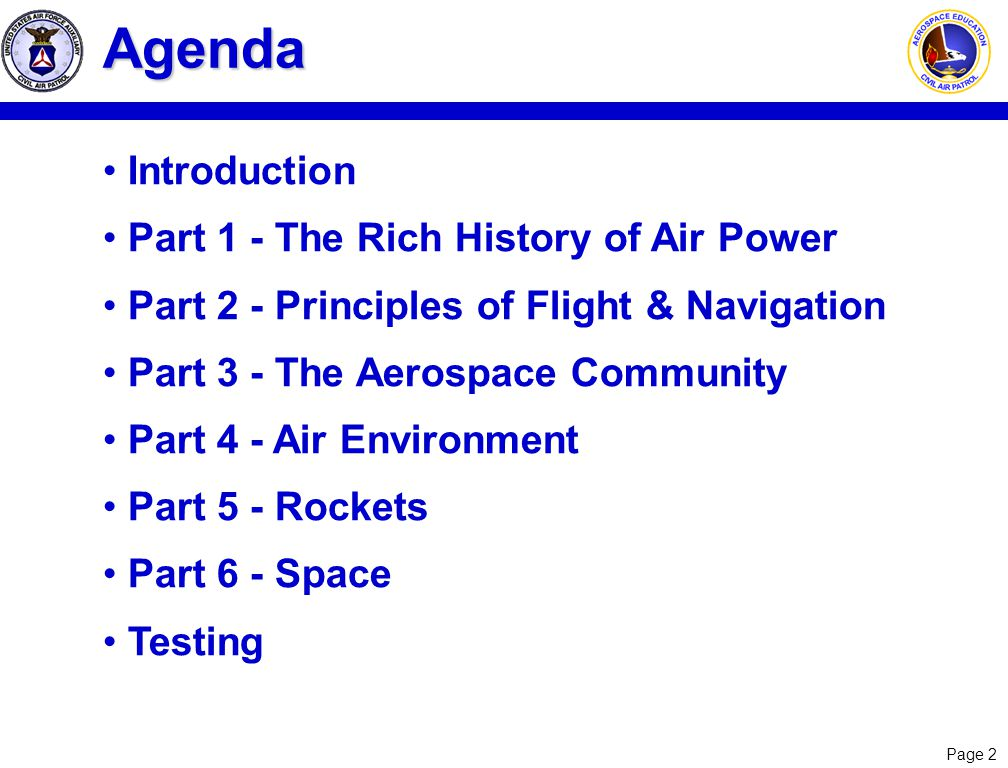 Agenda Introduction Part 1 - The Rich History of Air Power