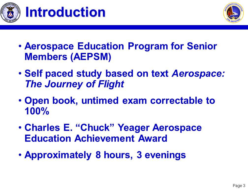 Introduction Aerospace Education Program for Senior Members (AEPSM)