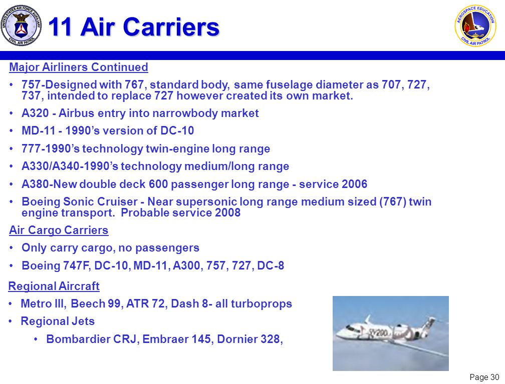 11 Air Carriers Major Airliners Continued