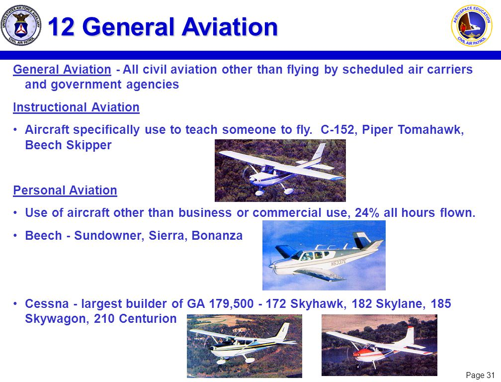 12 General Aviation General Aviation - All civil aviation other than flying by scheduled air carriers and government agencies.