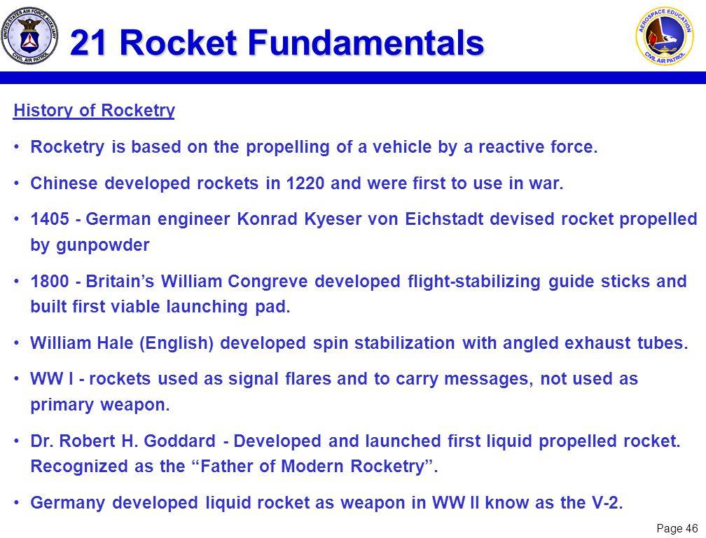 21 Rocket Fundamentals History of Rocketry
