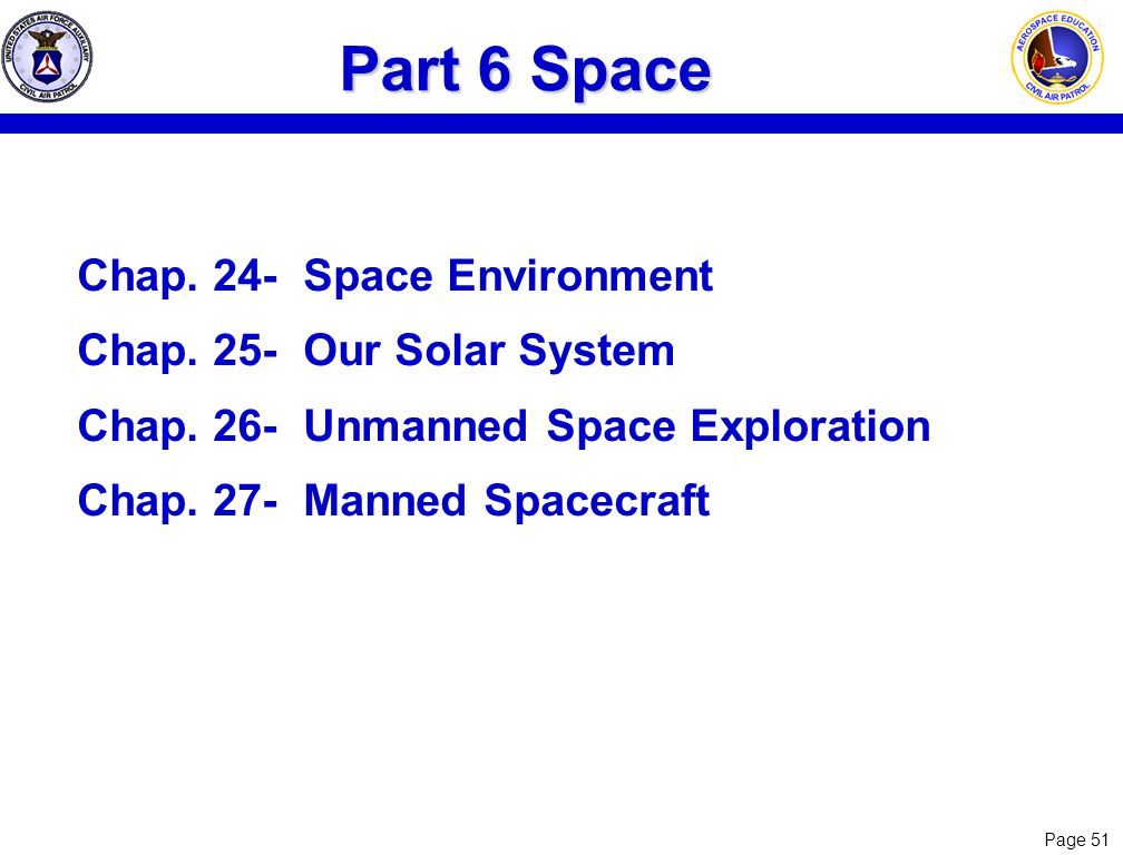 Part 6 Space Chap. 24- Space Environment Chap. 25- Our Solar System