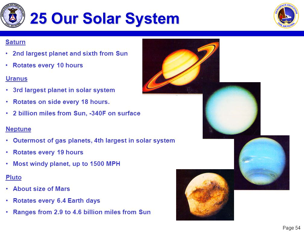 25 Our Solar System Saturn 2nd largest planet and sixth from Sun