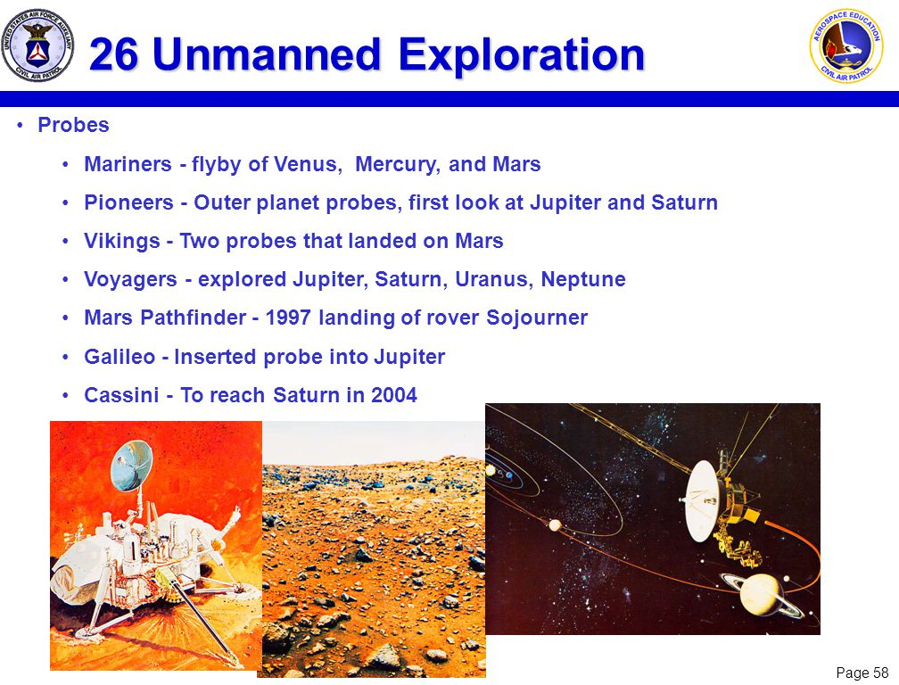 26 Unmanned Exploration Probes
