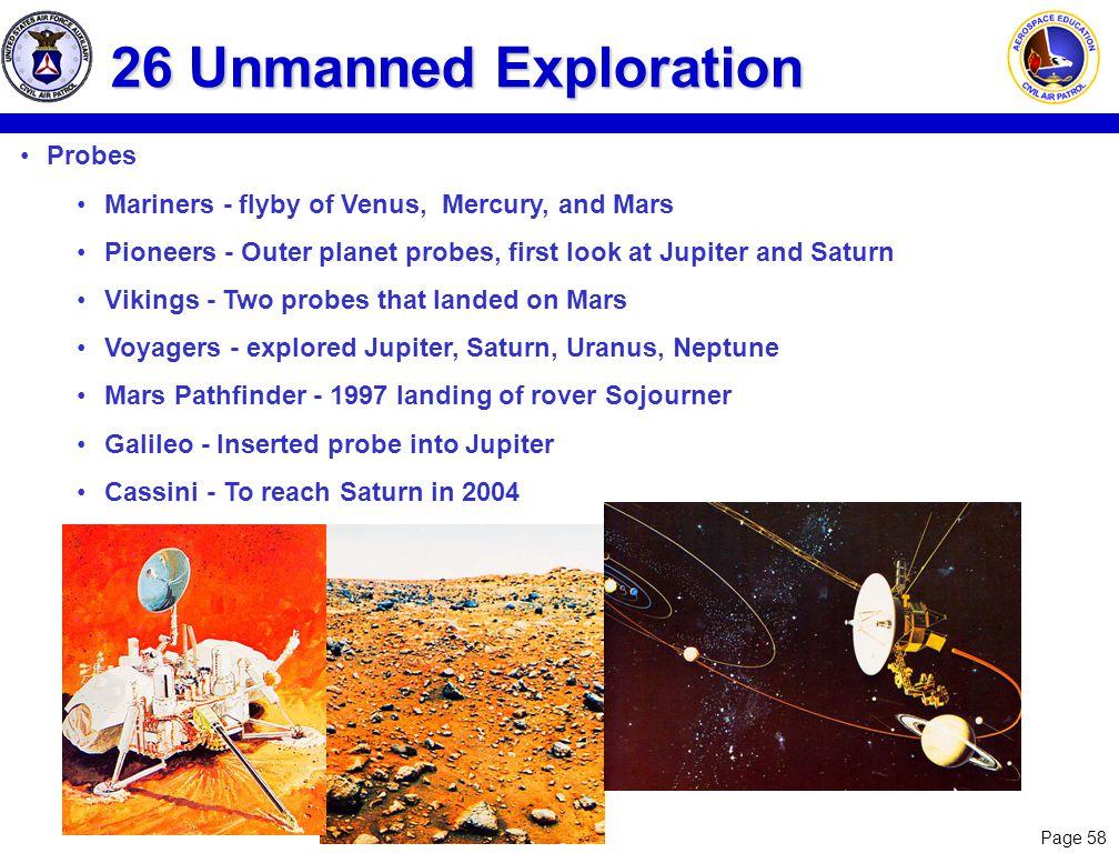 26 Unmanned Exploration Probes