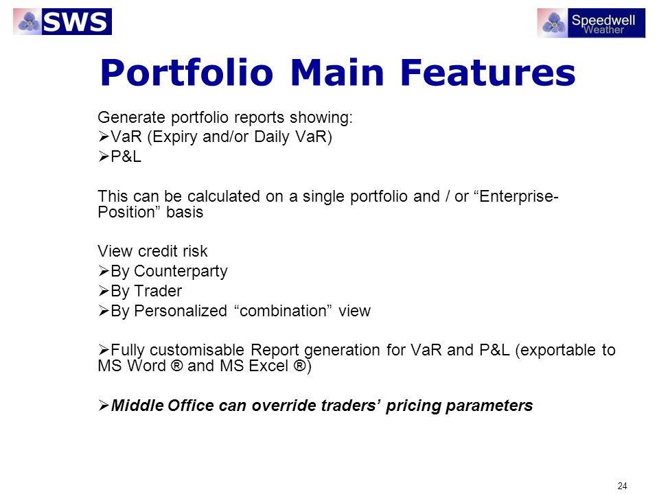 Portfolio Main Features