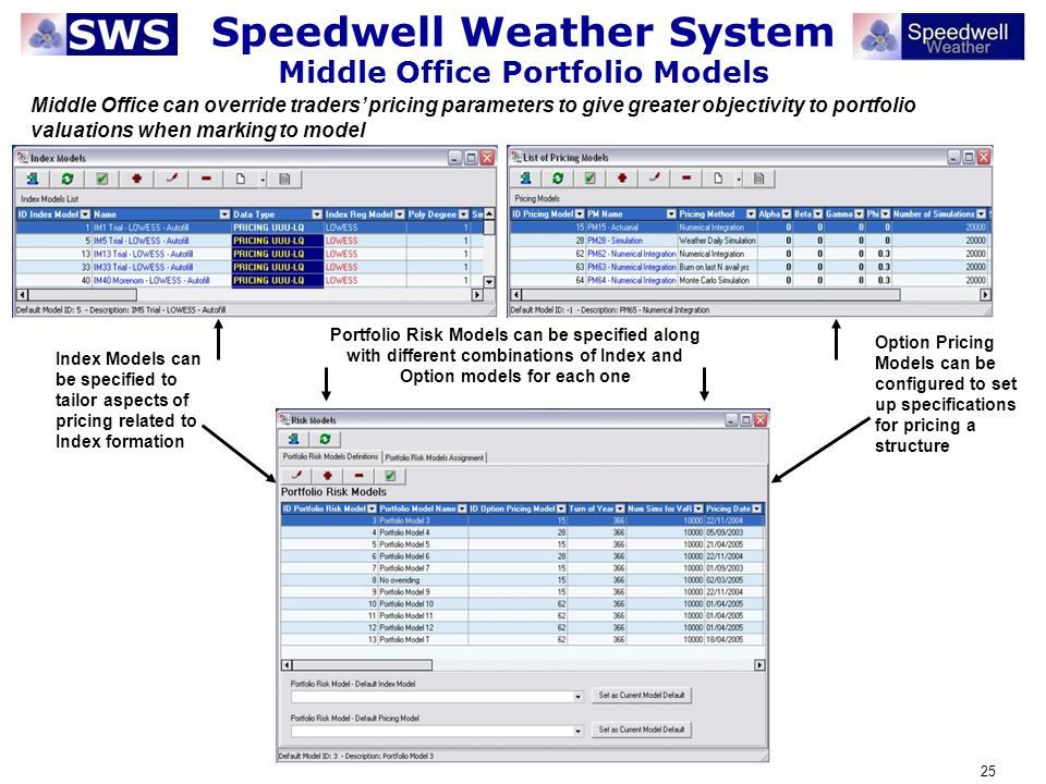 Speedwell Weather System Middle Office Portfolio Models