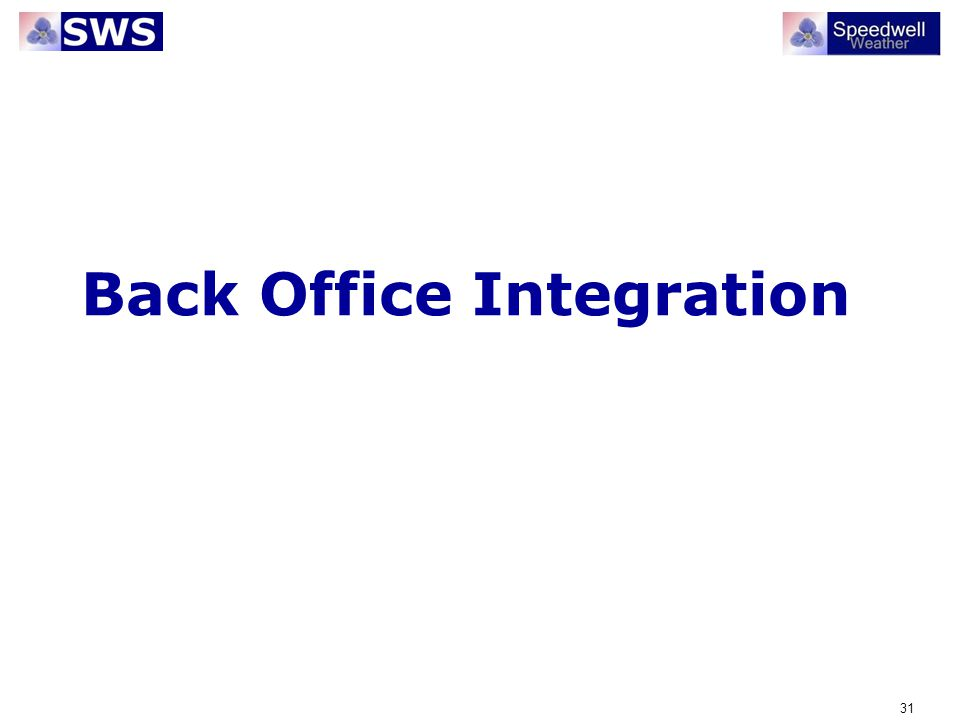 Back Office Integration