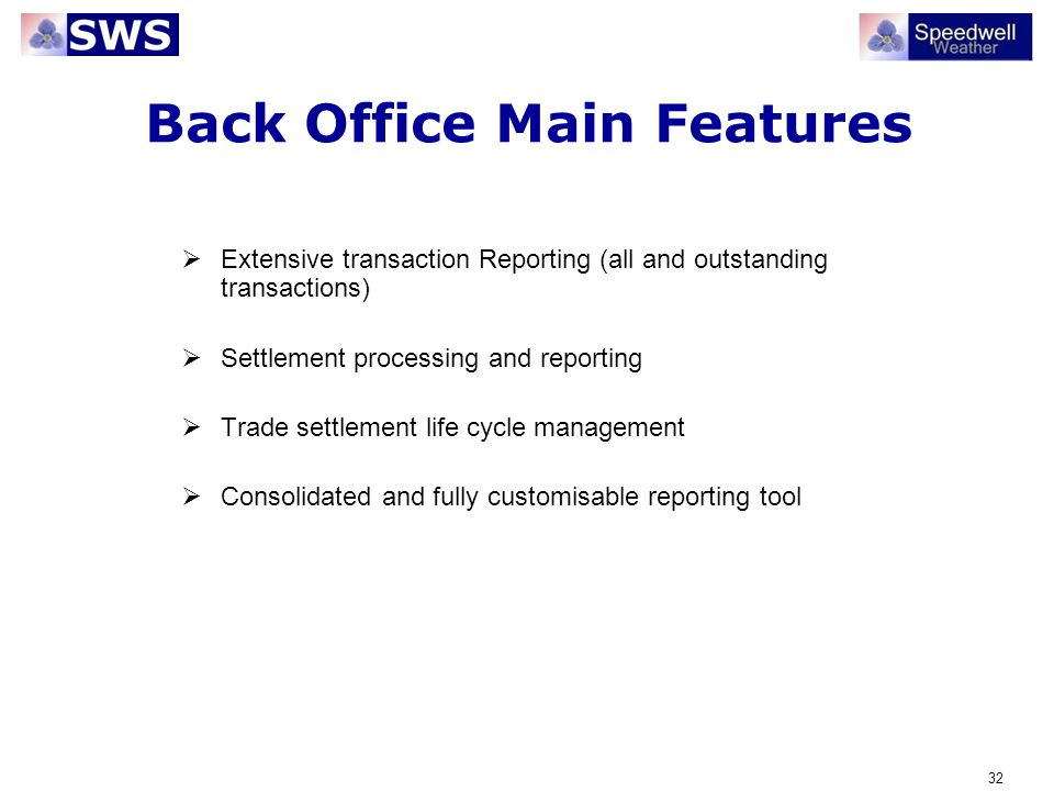 Back Office Main Features