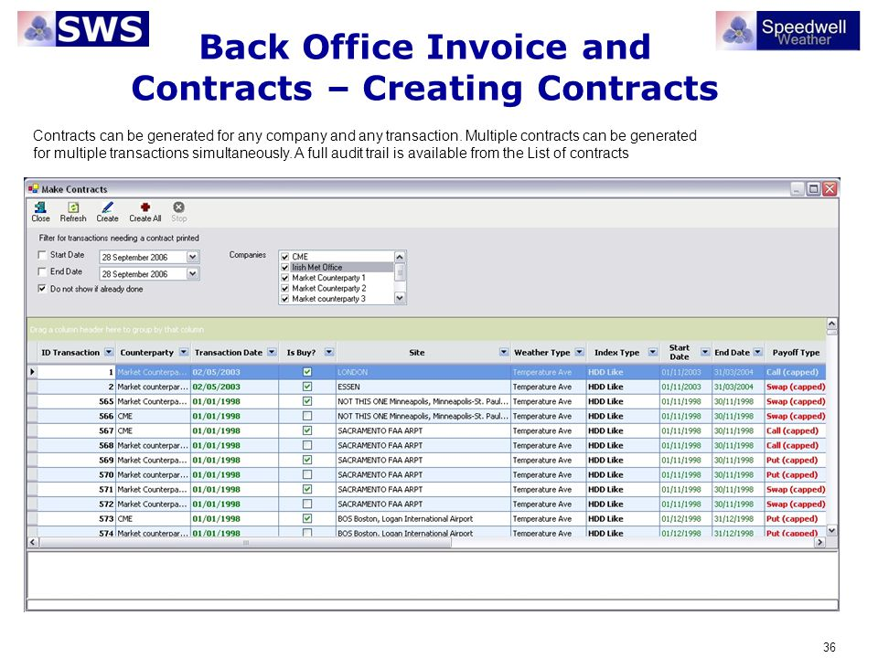 Back Office Invoice and Contracts – Creating Contracts
