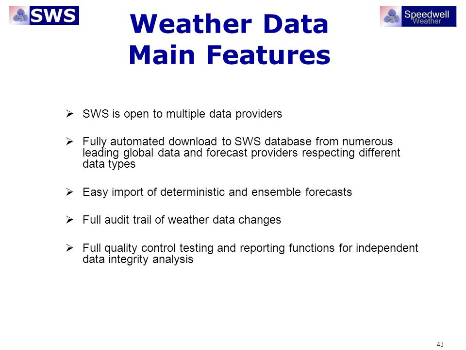Weather Data Main Features