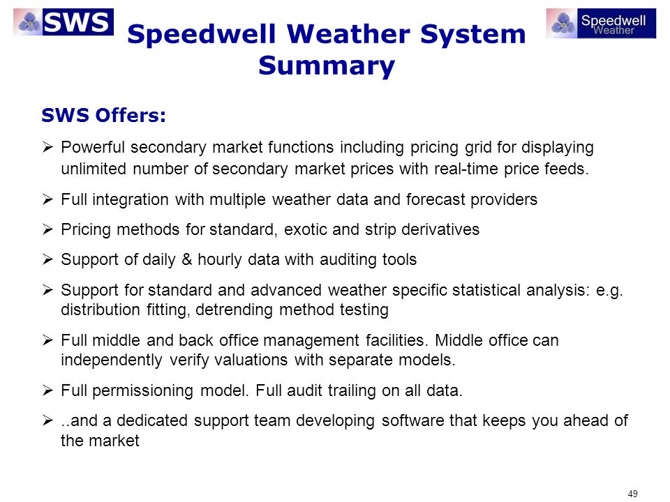 Speedwell Weather System Summary