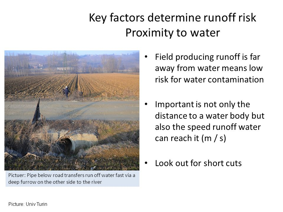 Key factors determine runoff risk Proximity to water
