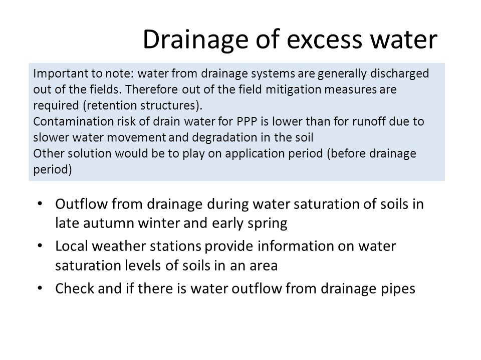Drainage of excess water