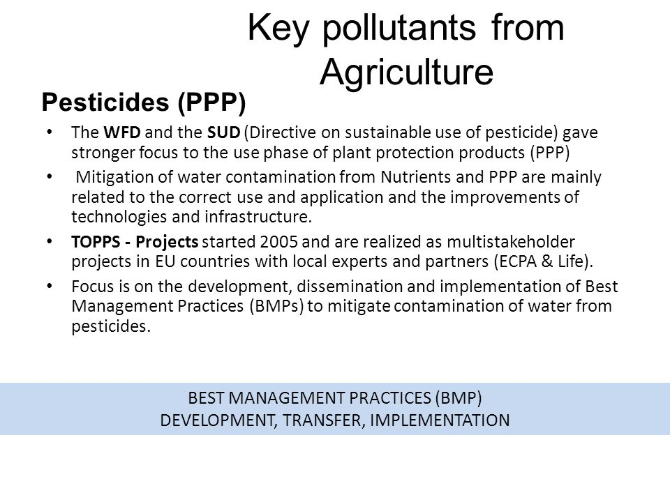 Key pollutants from Agriculture