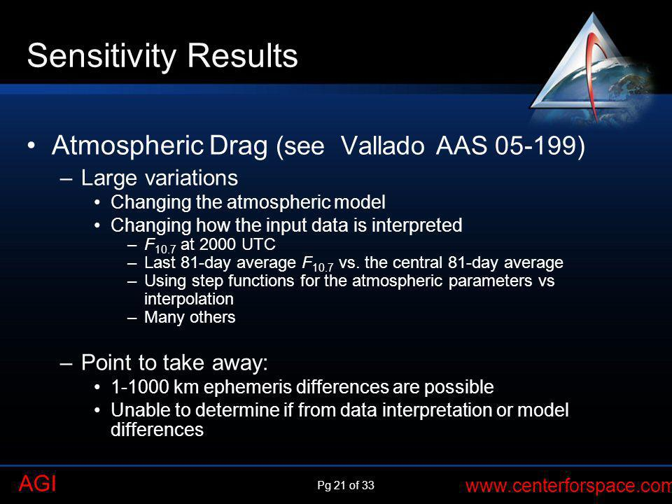 Sensitivity Results Atmospheric Drag (see Vallado AAS 05-199)