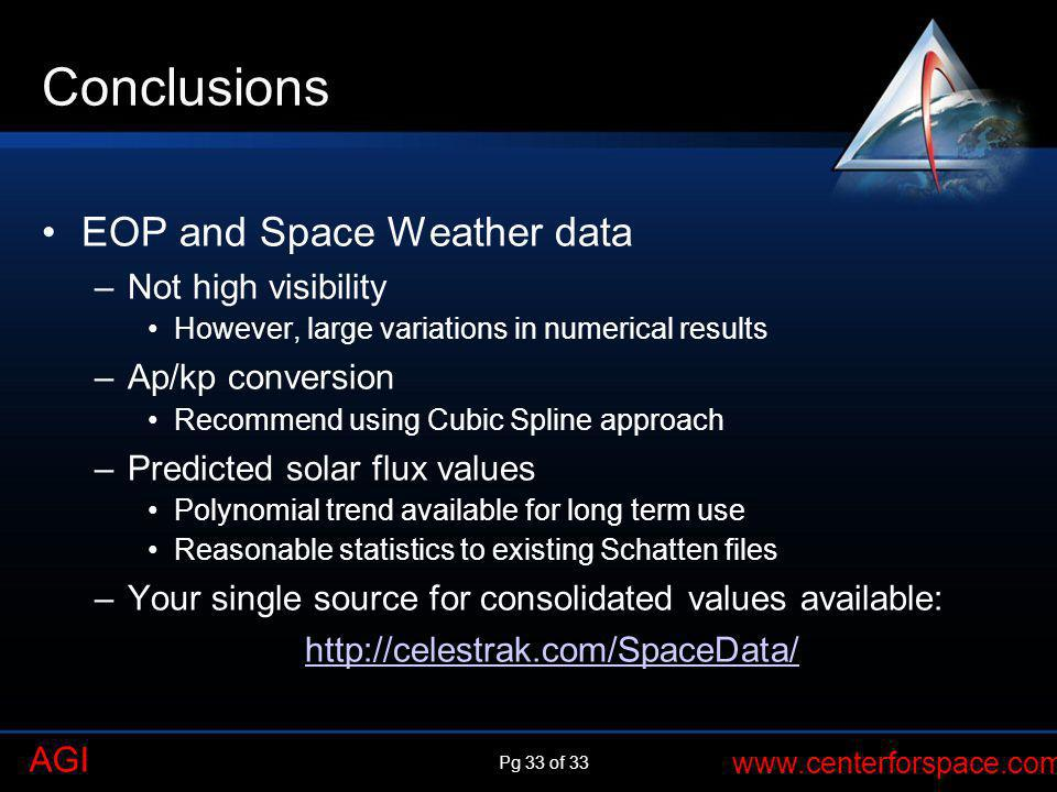 Conclusions EOP and Space Weather data Not high visibility