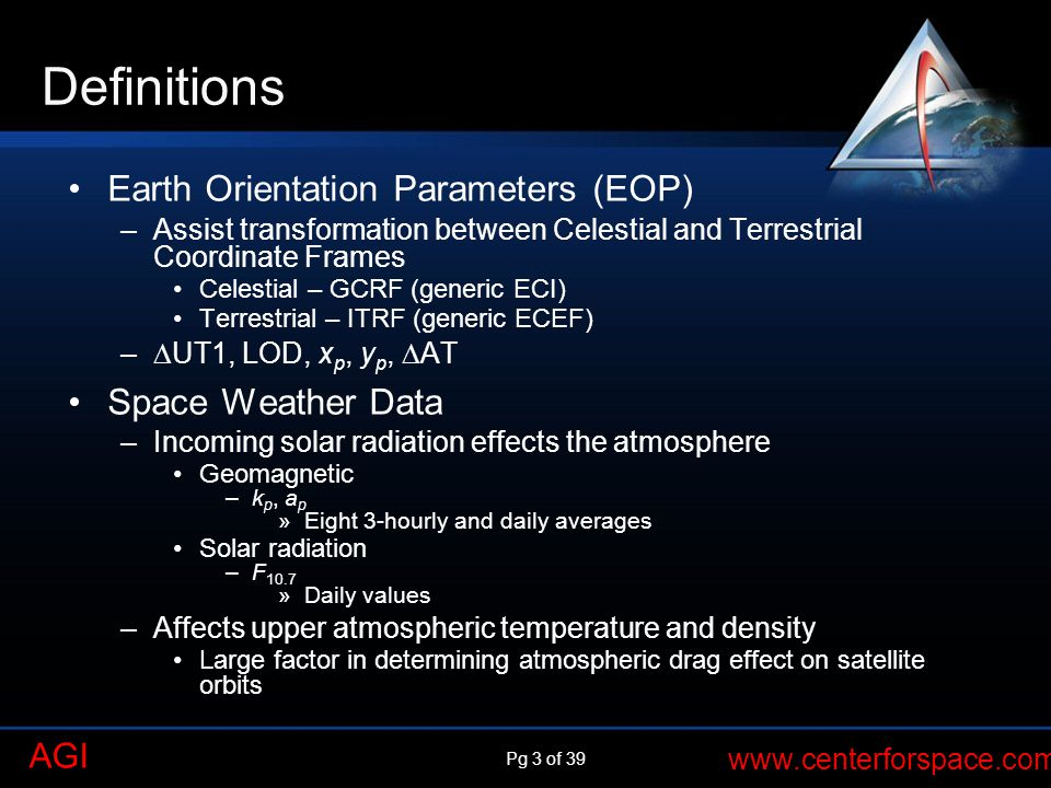 Definitions Earth Orientation Parameters (EOP) Space Weather Data