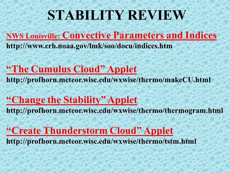 STABILITY REVIEW The Cumulus Cloud Applet