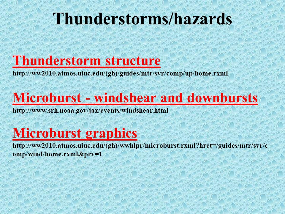 Thunderstorms/hazards