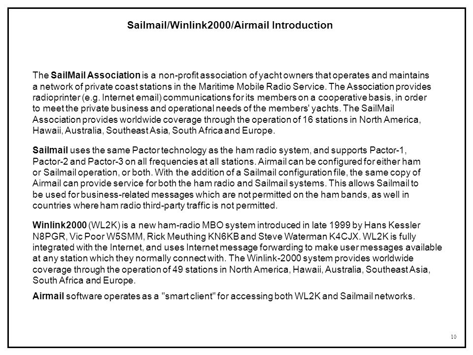 Sailmail/Winlink2000/Airmail Introduction