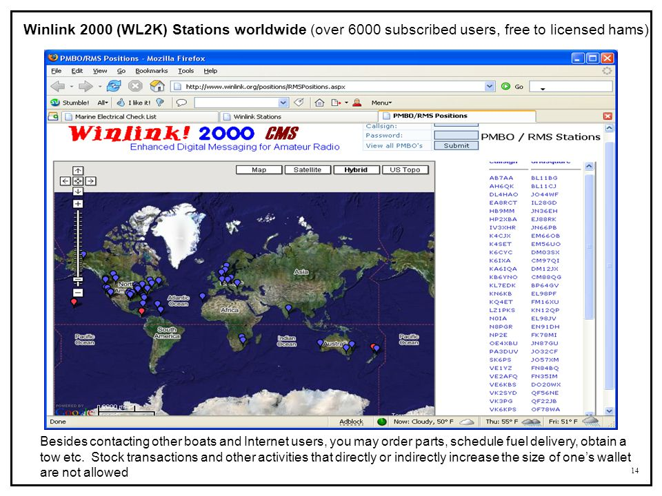 Winlink 2000 (WL2K) Stations worldwide (over 6000 subscribed users, free to licensed hams)