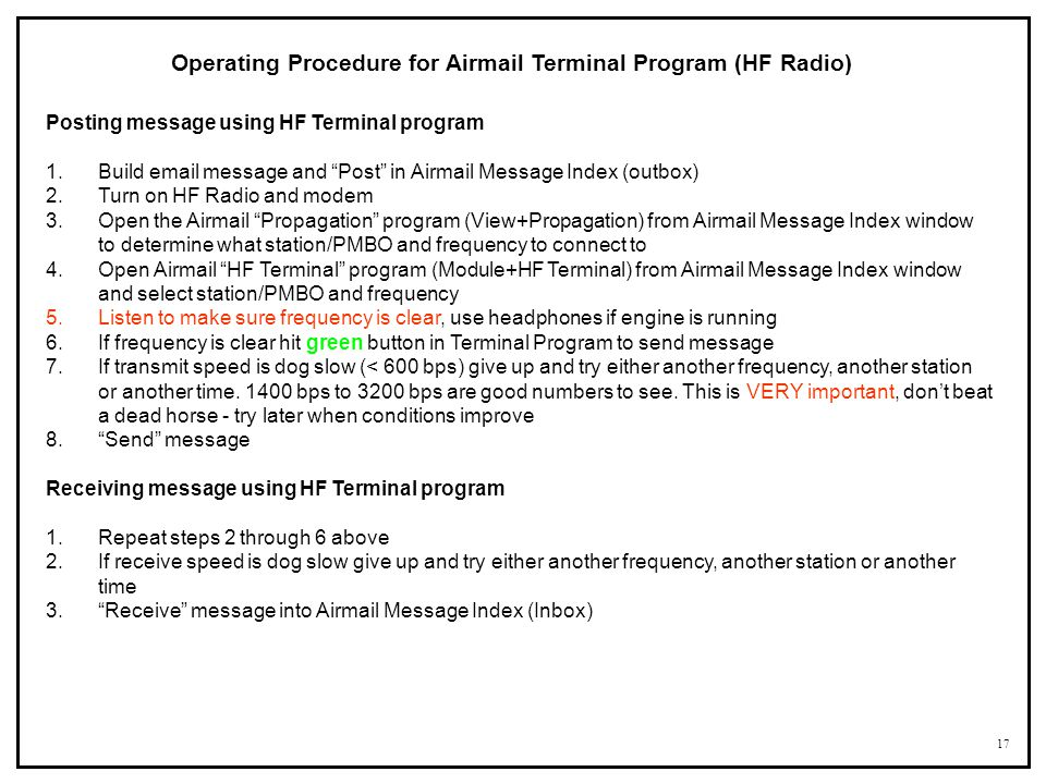 Operating Procedure for Airmail Terminal Program (HF Radio)