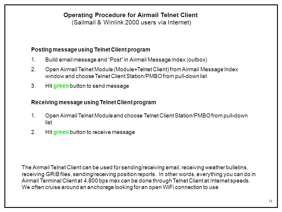 Operating Procedure for Airmail Telnet Client