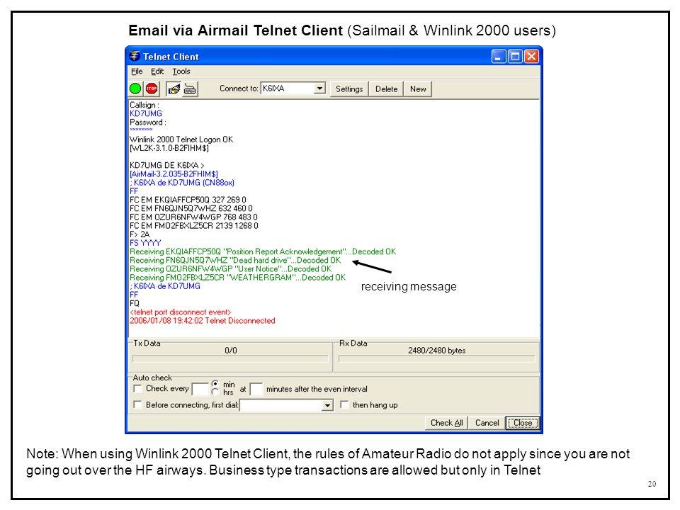 Email via Airmail Telnet Client (Sailmail & Winlink 2000 users)