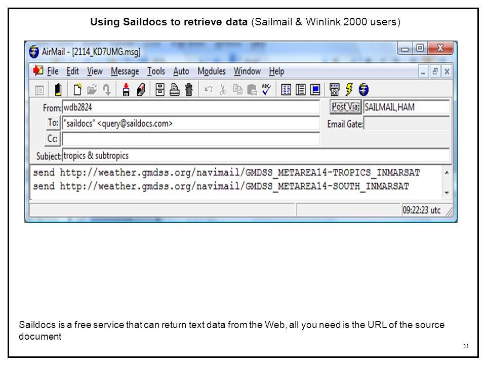 Using Saildocs to retrieve data (Sailmail & Winlink 2000 users)