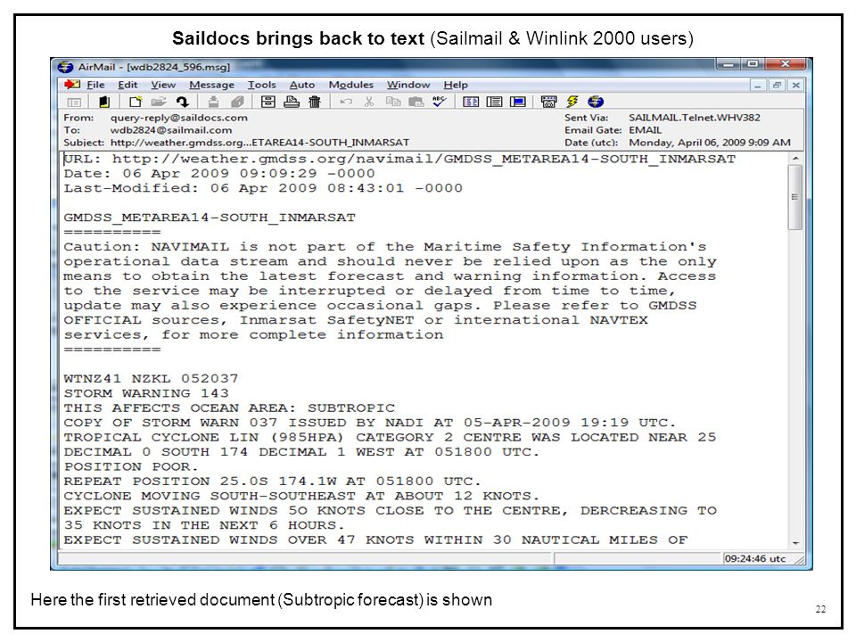 Saildocs brings back to text (Sailmail & Winlink 2000 users)