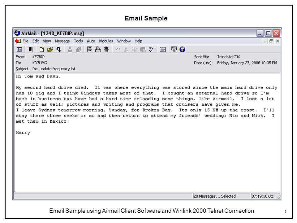 Email Sample Email Sample using Airmail Client Software and Winlink 2000 Telnet Connection