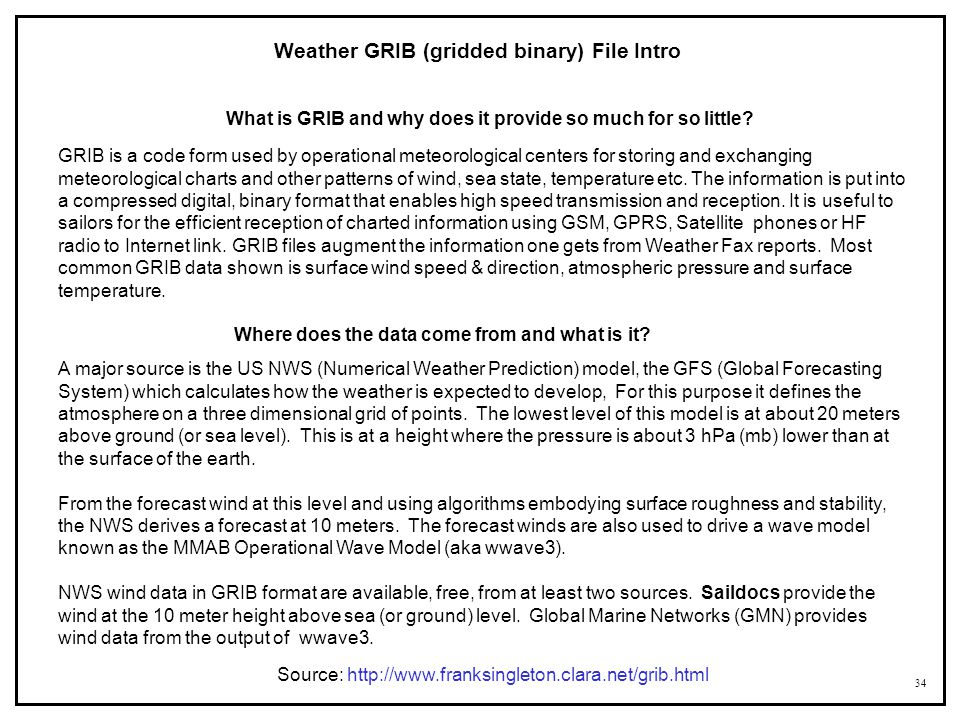 Weather GRIB (gridded binary) File Intro