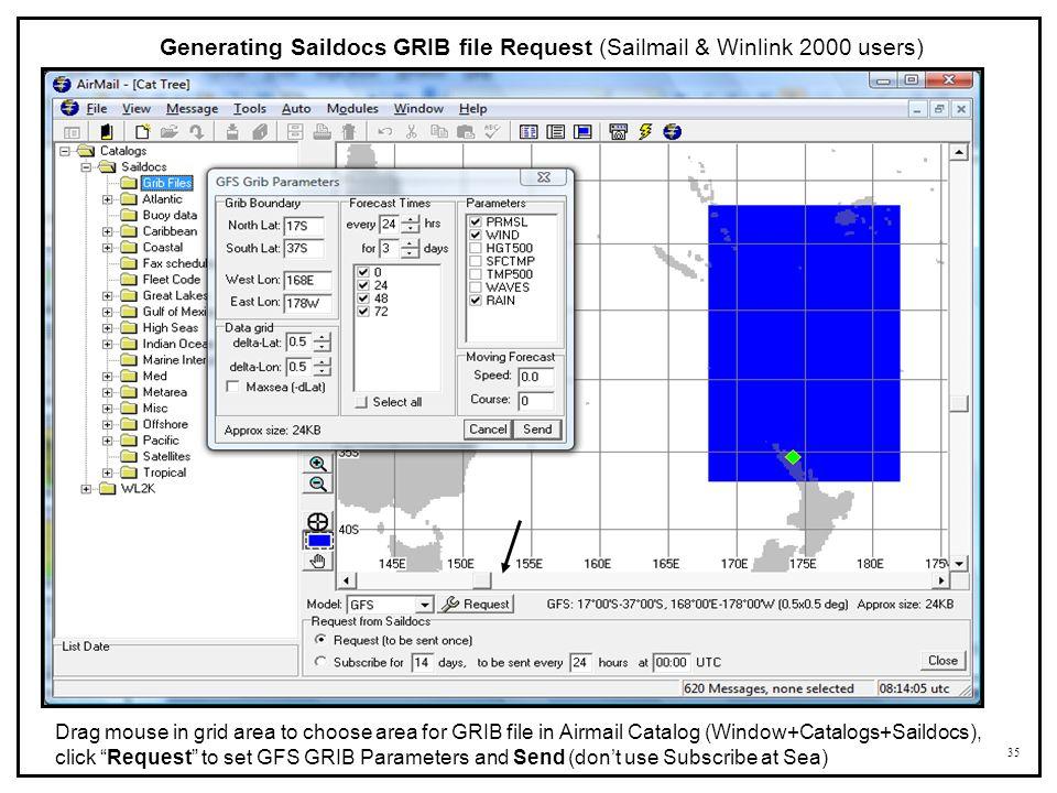 Generating Saildocs GRIB file Request (Sailmail & Winlink 2000 users)