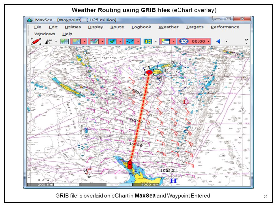 Weather Routing using GRIB files (eChart overlay)