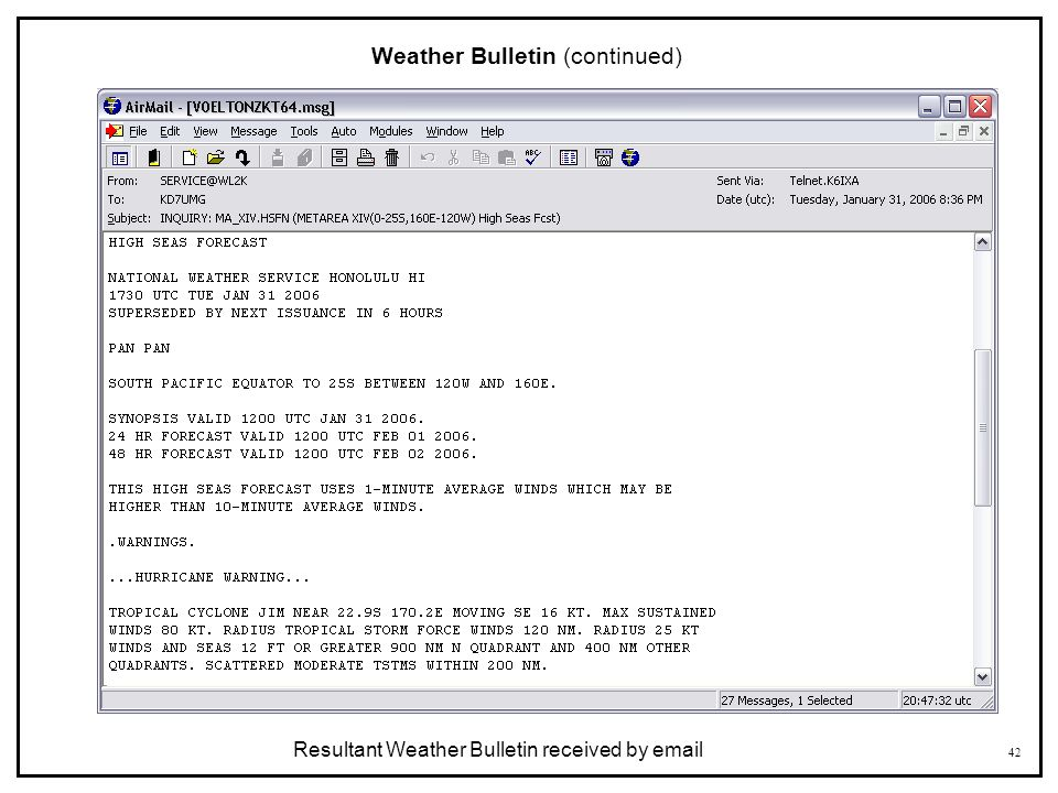 Weather Bulletin (continued)