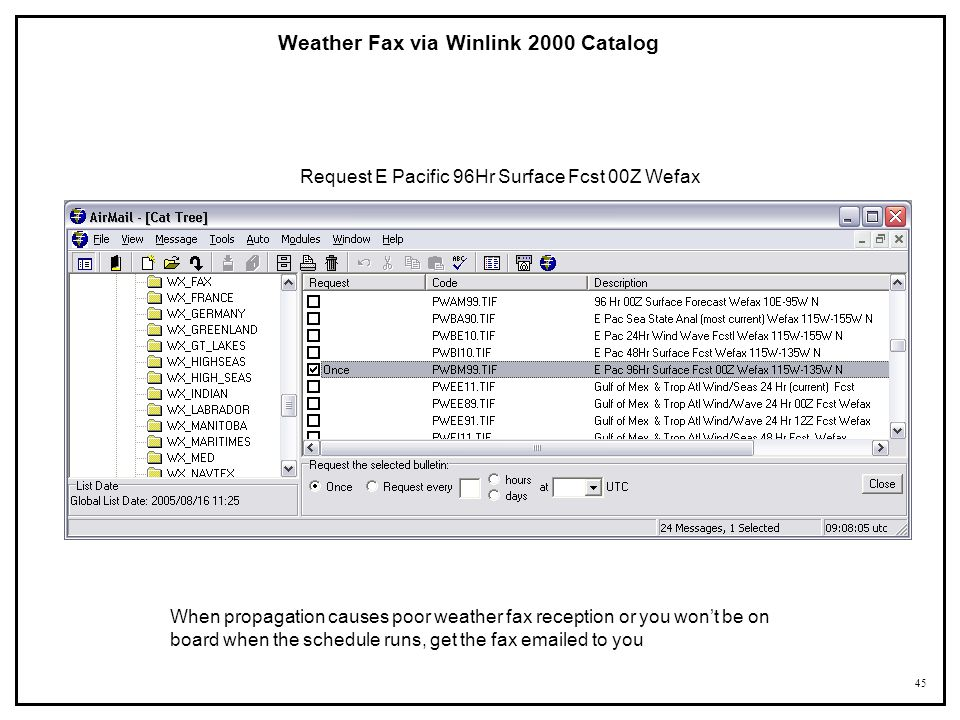 Weather Fax via Winlink 2000 Catalog
