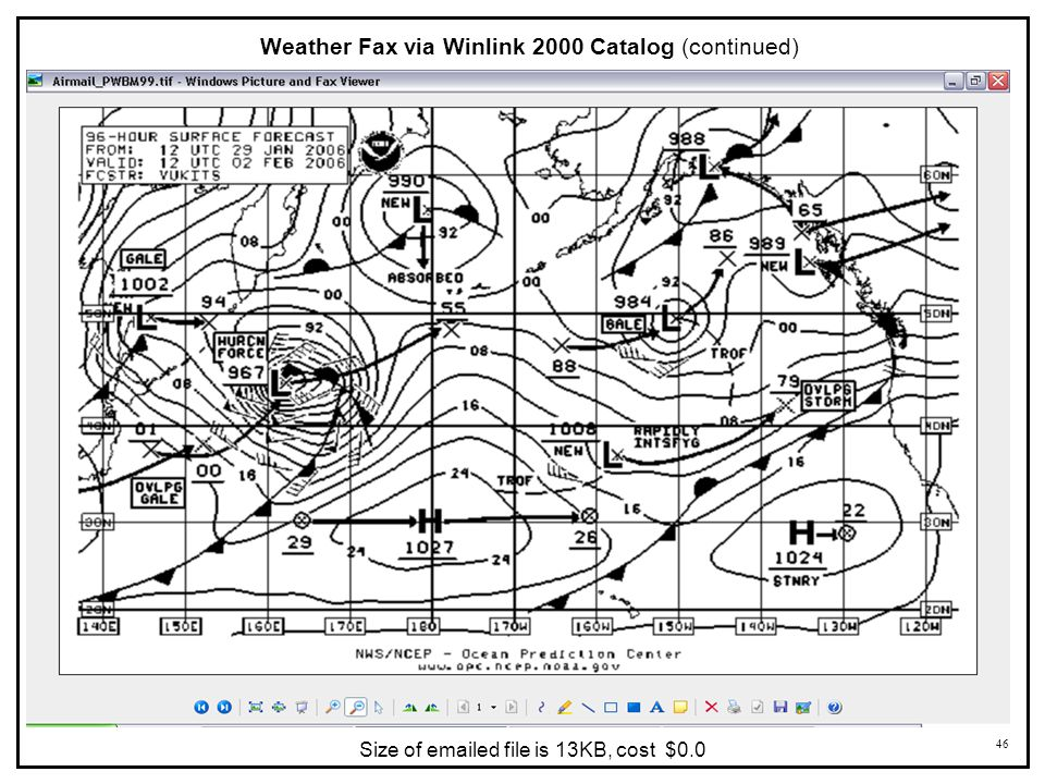 Weather Fax via Winlink 2000 Catalog (continued)