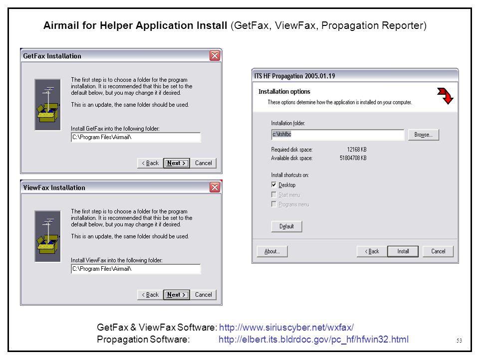 Airmail for Helper Application Install (GetFax, ViewFax, Propagation Reporter)