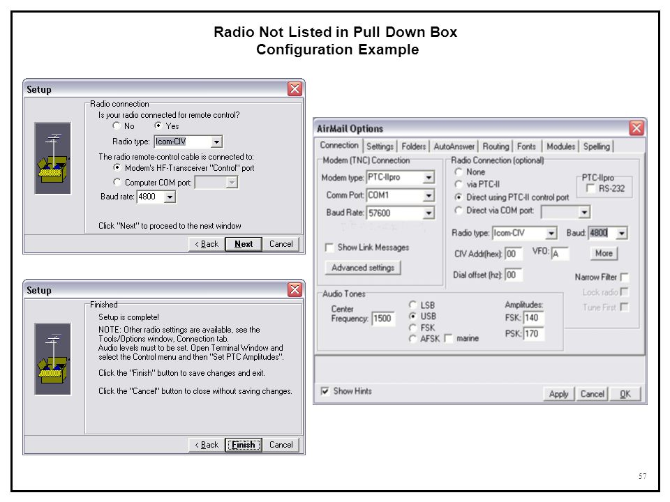 Radio Not Listed in Pull Down Box Configuration Example