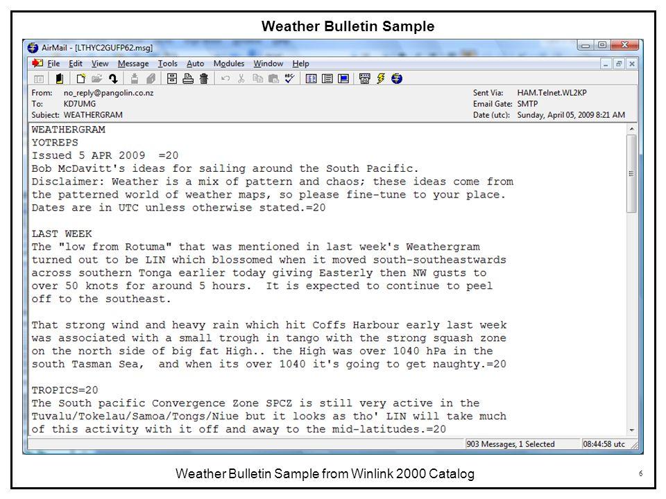 Weather Bulletin Sample